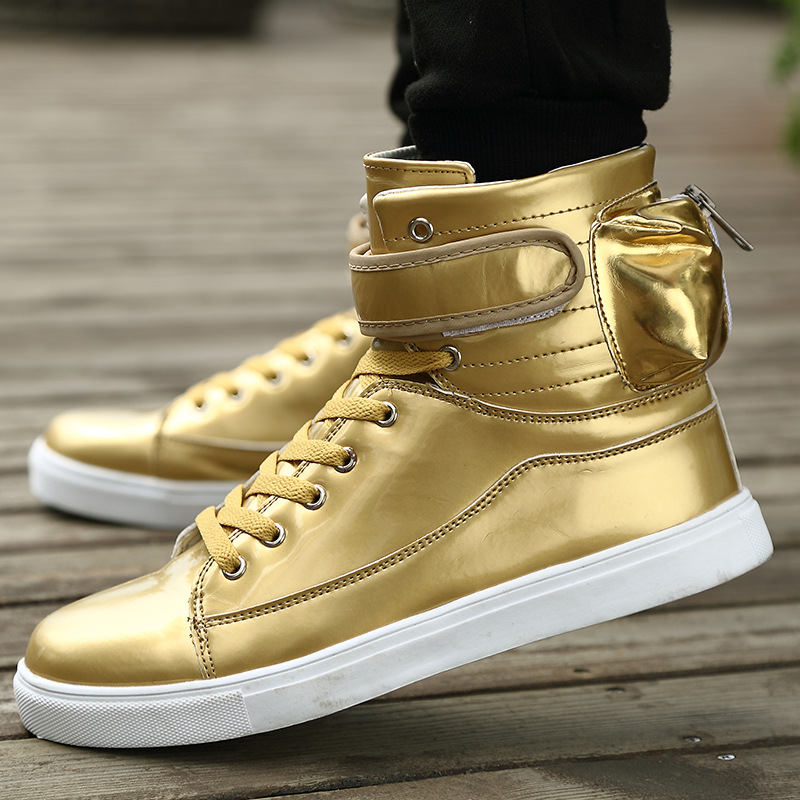 ФОТО New 2016 Unisex High Top Casual Shoes Men Zip Solid PU Leather Men Fashion Shoes Zapatos mujer Basket femme Trainers