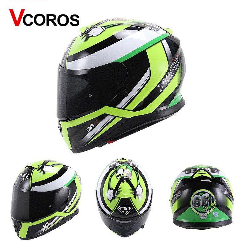 Vcoror full face motorcycle helmet YOHE with inner sun black shield motorbike helmet YH 976 made of ABS full cover moto helmet