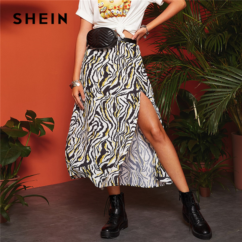 SHEIN Boho Multicolor Split Thigh Zebra Print A-Line Skirts Womens Spring Mid Waist 2019 Casual Vacation Sexy Flared Long Skirt