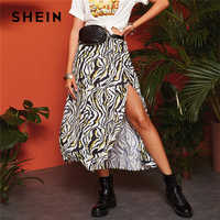 SHEIN Boho Multicolor Split muslo cebra estampado A-Line Faldas Mujer primavera media cintura 2019 Casual vacaciones Sexy Falda larga acampanada