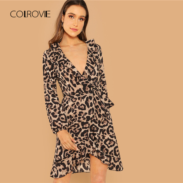 385eb7d7be16b COLROVIE Belted Leopard Print Ruffle Office Sexy Dress Women Clothes 2018  Autumn Streetwear Long Sleeve Lady