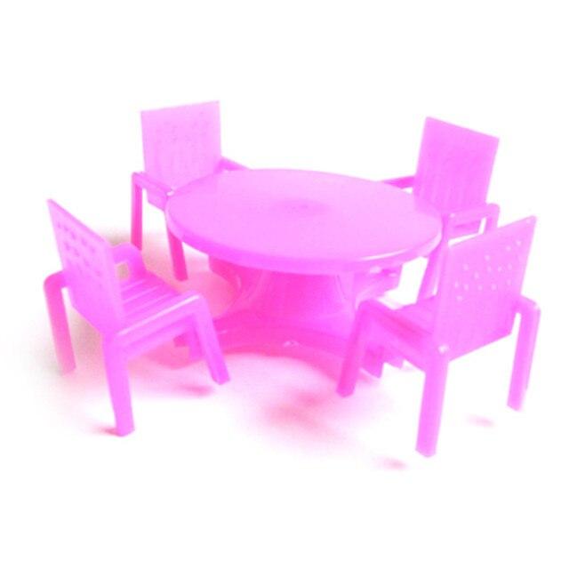 Sedia Da Scrivania Rosa.1 Set 4 Sedie 1 Scrivania Casa Delle Bambole Rosa Scuola Materna
