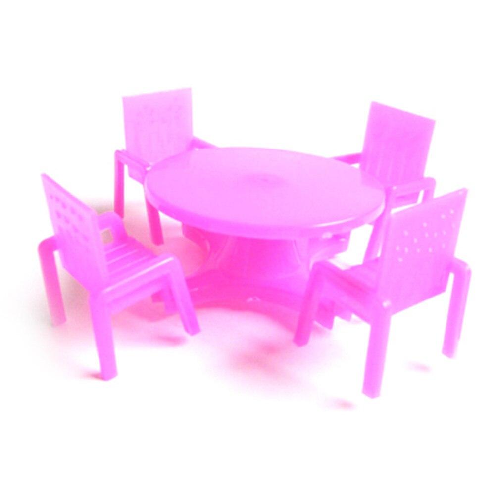 1 Set (4 Stoelen + 1 Bureau) Poppenhuis Roze Nursery Baby Stoel Bureau Voor Poppenhuis Meubels, Speelhuis Speelgoed