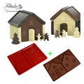 Baking Tools DIY 3D Christmas Gingerbread House Set 2PCS Silicone Mold Chocolate Cake Mould For Make Biscuits Cake Decorating