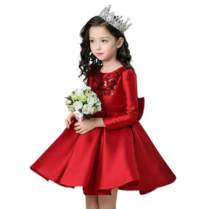 Red Flower Princess Wedding Dress Girl Long Sleeves Dresses Children Clothing Ball Gown Girls Clothes Kids Bow Party Dresses industrial pipe wine racks metal decorative wine holder wall hanging shelf wood antique wine bottle holders