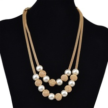Fashion Bohemian chain Double Chain Statement Beads Necklaces Collars For Women Long Pendants Gifts
