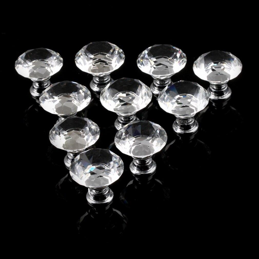 1 paquete/10 unids 30mm forma de diamante cristal de cristal del cajón del Gabinete perilla tire de la manija puerta de la cocina armario Equipos