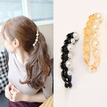 Beautiful Pearls Hairpins Hair Jewelry Banana Clips Headwear Hairgrips for Women Summer accessory Orange & Black