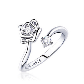 High Quality Silver Plated Princess Crown Adjustable Ring