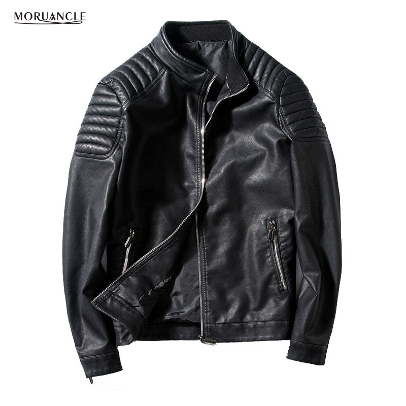 MORUANCLE Hi-Street Mens Motorcycle Leather Jacket Stand Collar Slim Fit Biker PU Suede Jackets Male Cuff Zipper Plus Size 4XL