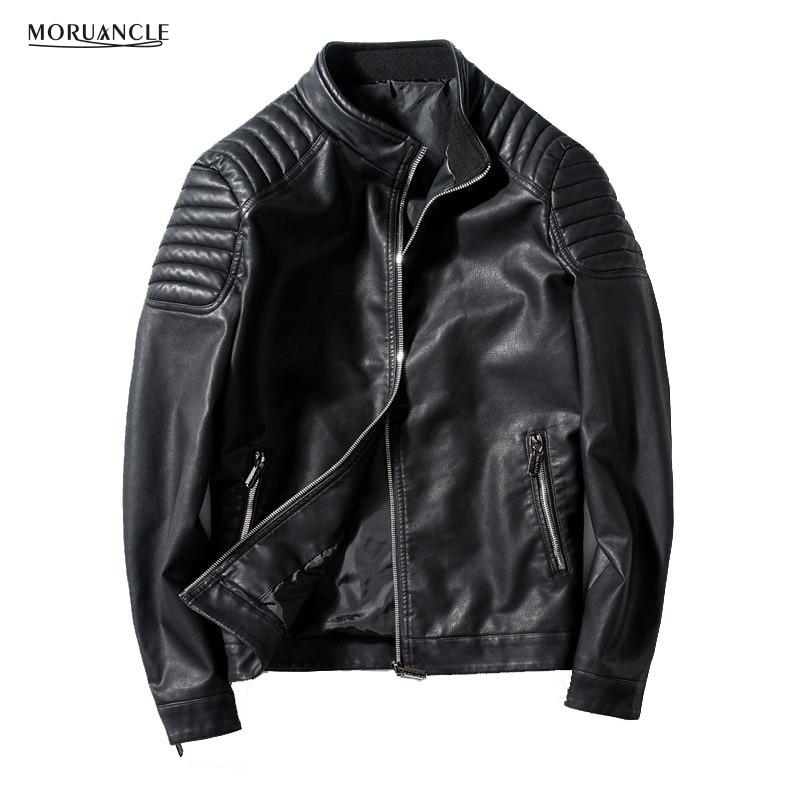 MORUANCLE Salut-Rue Hommes Moto En Cuir Veste Col montant Slim Fit Biker PU Vestes En Daim Mâle Manchette Zipper Plus taille 4XL
