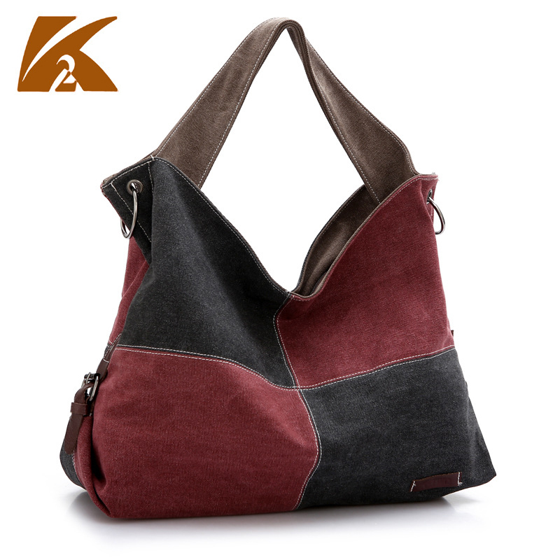 KVKY vintage women canvas shoulder bags fashionable contrast color literature Messenger bag crossbody bag tote bag for female fashion women messenger bag mini handbag female shoulder bags vintage canvas tote satchels school bag small crossbody bag
