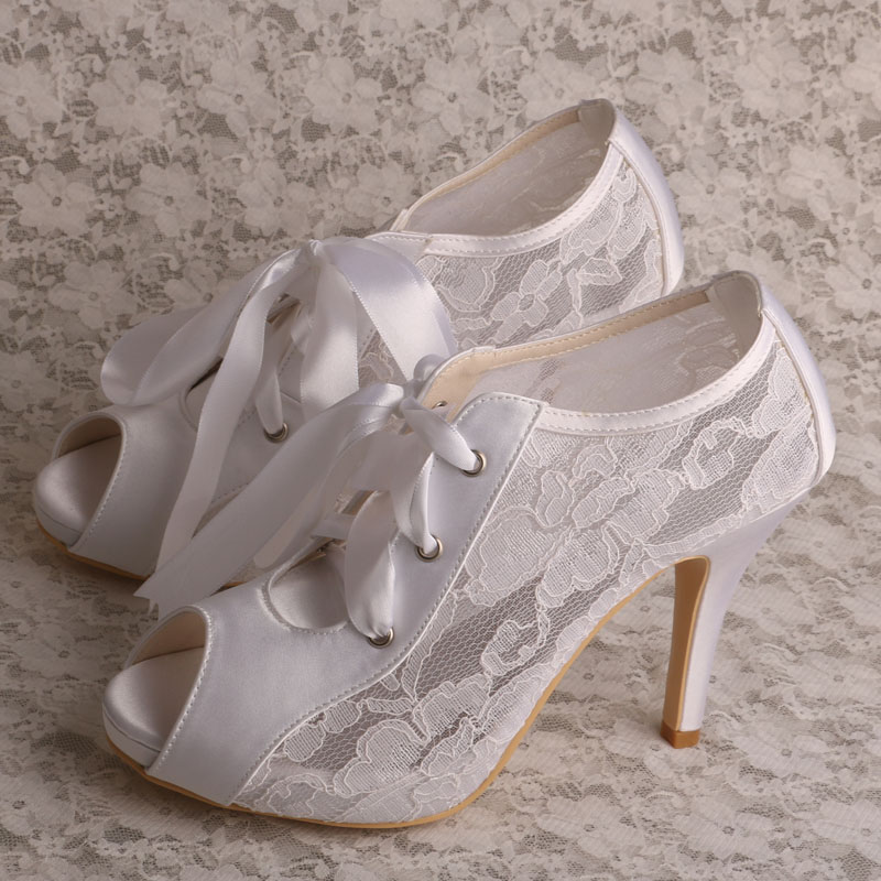 Beau Wedopus Lace Up 2017 Women Cream Lace Wedding Shoes Bridal Peep Toe  Dropshipping In Womenu0027s Pumps From Shoes On Aliexpress.com | Alibaba Group