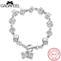 GAGAFEEL Square Bracelet 925 Sterling Silver Women Jewelry Zircon Crystal Bracelets Watch Bangle Link Chain For