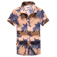 Men Hawaiian Shirts Short Sleeve Print Men S Shirt Male 5XL Plus Size Loose Casual Shirt