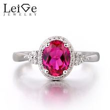 Leige Jewelry Ruby Solid 925 Sterling Silver Ring Red Gemstone July Birthstone Oval Cut Engagement Wedding Ring Gifts for Women