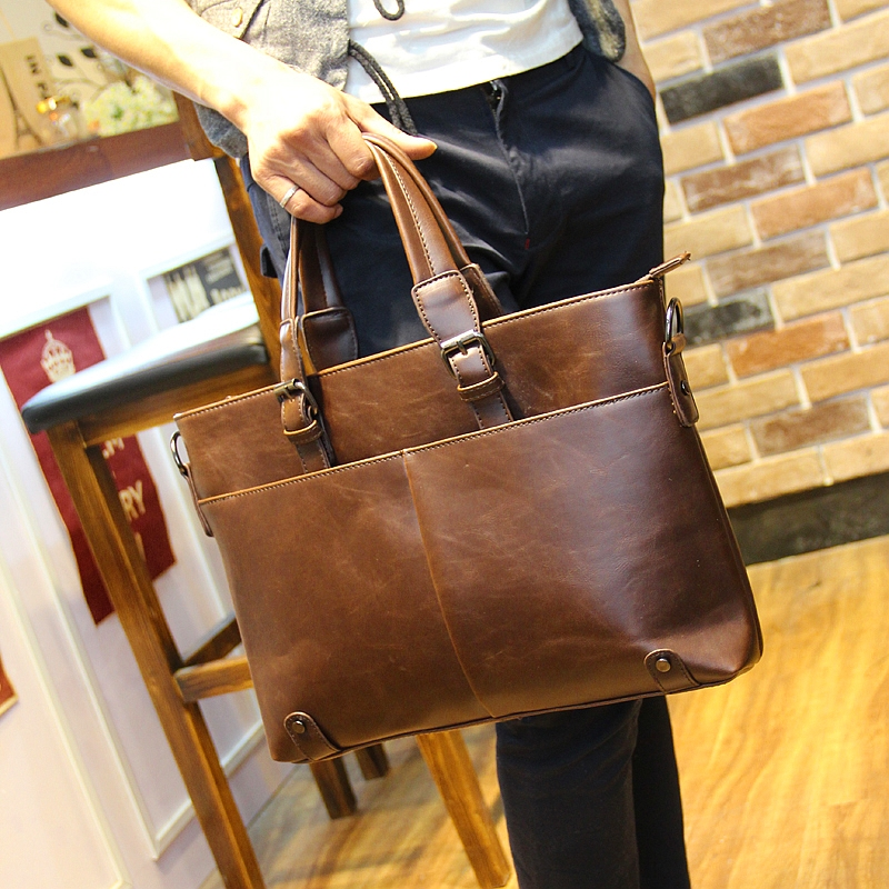 Us 42 58 Good Leather Men S Briefcase Computer Business Bag Laptoptas Vintage Notebook 13 3 14 Inch Free Shipping In Laptop Bags
