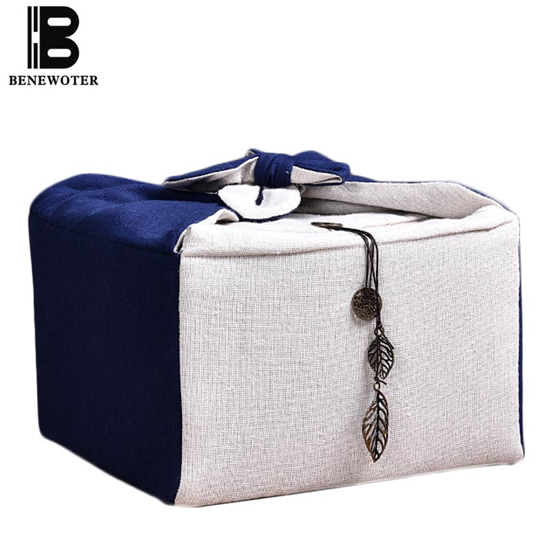 Portable Travel Camp Outdoor Handmade Storage Bag For Quick Cup Tea Set Linen Bag For Teapot Tea Cup Fair Cup Tea Accessories