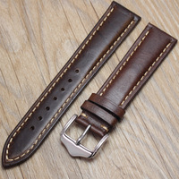Retro Watch Strap Genuine Leather Brown Men 20 22mm Soft Watchbands Stainless Steel Buckle Belt Accessories