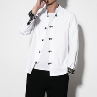 Pure color Cotton shirt men Single breasted men shirt large size 5XL mens shirts Chinese style