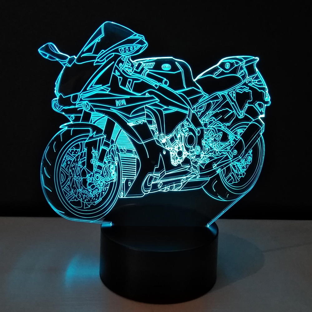 3D Motorcycle LED Night Light Bulbing Light Toys Color Changeable Table Lamp Methacrylate Plate Children's Nightlight Lamparas