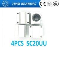 High Quality4 Pcs SC20UU SCS20UU 20mm Linear Ball Bearing Slide Unit 20mm Linear Bearing Block