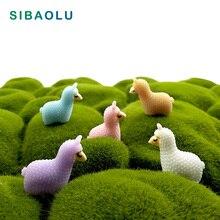 5pcs Sheep Alpaca Miniature figurine cartoon animal 3D model fairy garden Resin Craft  home decoration DIY accessories