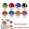 8 Unids 7 cm Pokeball + 8 unids Figuras de Acción Del Anime Figuras 8 unids/lote pokeball Juguetes para niños de Regalos Super maestro Juguetes de Los Niños