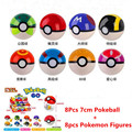 8Pcs 7cm Pokeball + 8pcs Figures Anime Action Figures 8pcs/lot pokeball Toys for kids Gifts Super Master Ball Kids Toys