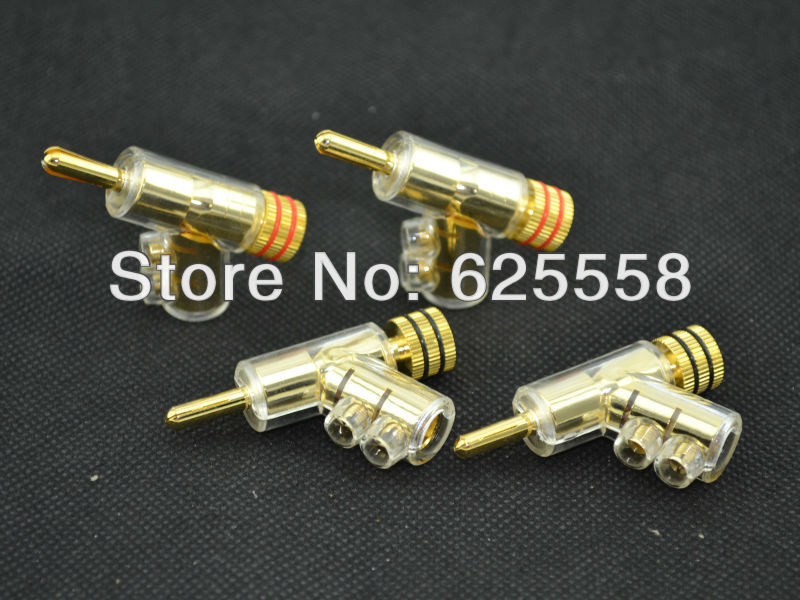 Hi-end Speaker Cable Banana plug Copper Gold Plated 4/pcs mpsource tena hi end 99 99997% occ 24k gold plated banana speaker connector plug bi wire speaker audio cable amplifier 1 pair