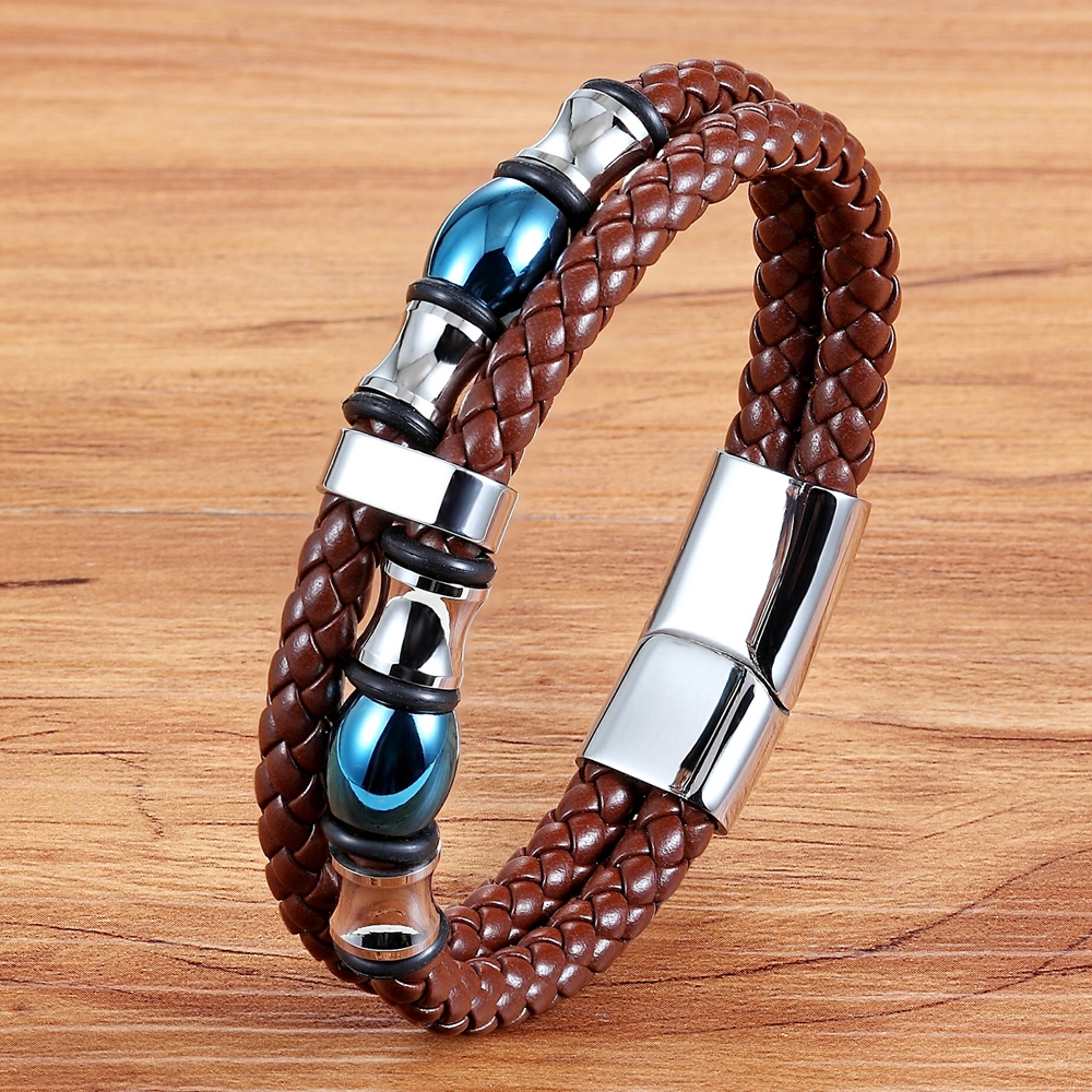 XQNI Geometrically Irregular Graphics Double Layers Stainless Steel Genuine Leather Bracelet Men Leather Bangle 2 Colors Choices