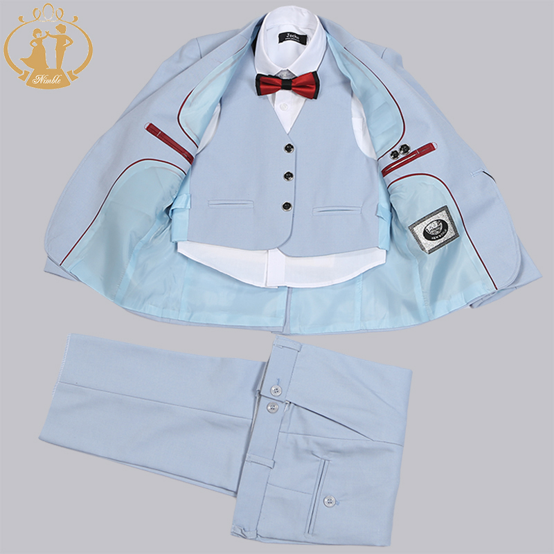 Nimble Summer Sky Blue New Wedding Suits for Boys Boy Formal Suits Set 4 Pieces baby boys blazers kids 2016 new arrival fashion baby boys kids blazers boy suit for weddings prom formal wine red white dress wedding boy suits