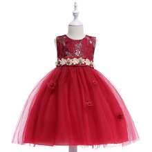 цена на Flower Girl Dresses Summer Cheap Red Tulle Dress for Kids Formal Toddler Kids Wedding Tutu Dress
