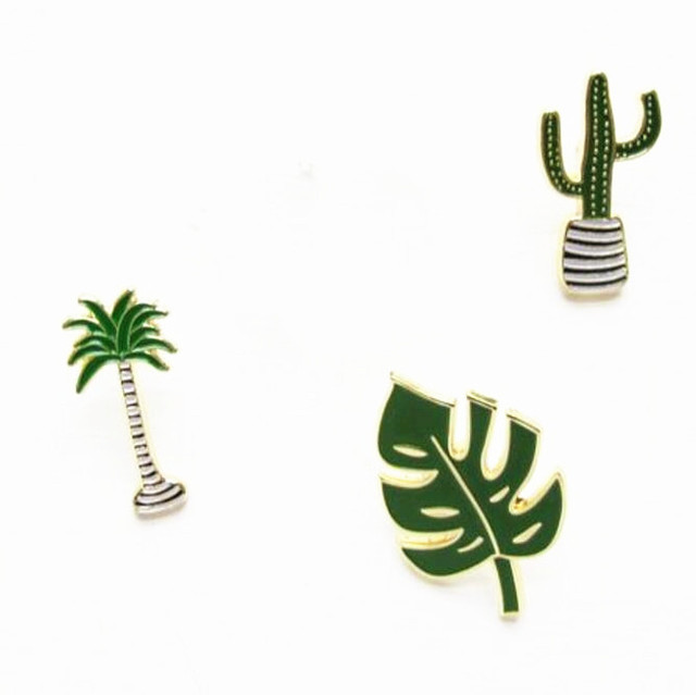 X033 Free shipping Cute Oil Drop Cartoon Tree Metal Brooch Pins,Fashion Jewelry Wholesale