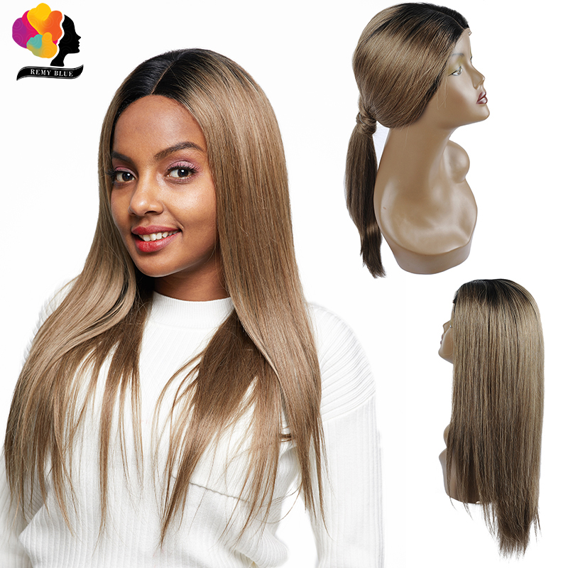 Remyblue Blonde Straight Lace Front Human Hair Wigs Pre Plucked 1B 126 Ombre Peruvian Remy Human