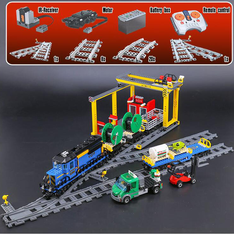 02008 City Series Radio train the Cargo Train Set Building Blocks Bricks 60052 RC Train Children Educational Toys Gifts cargo train model block toys city rc train birthday gifts for children compatible lepin technic series building blocks set 02008
