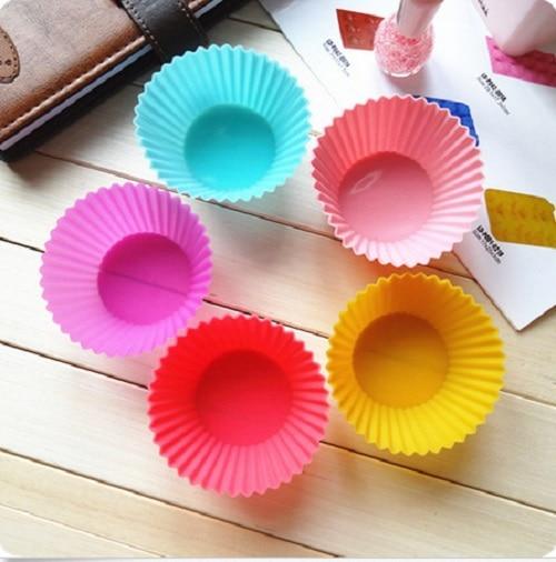 6 pcs Sale Bakeware De Color Send Randomly!Soft Silicone Mold Round Cake Muffin Cupcake Liner Baking Cup DIY egg tart Mold