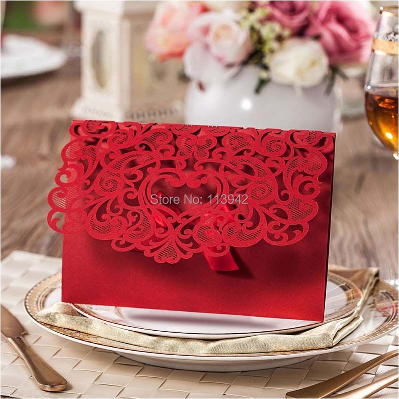 Elegant Wedding Invitations With Ribbon Laser Cut Red Business Cards Convites De Casamento Personalized Printing In Event Party From Home Garden On