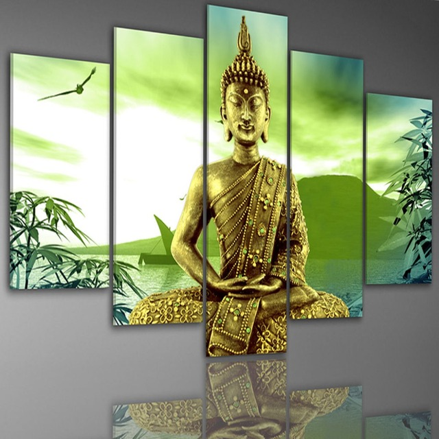 Framed 5 Panel Large Buddha Wall Art Canvas Painting Feng Shui ...
