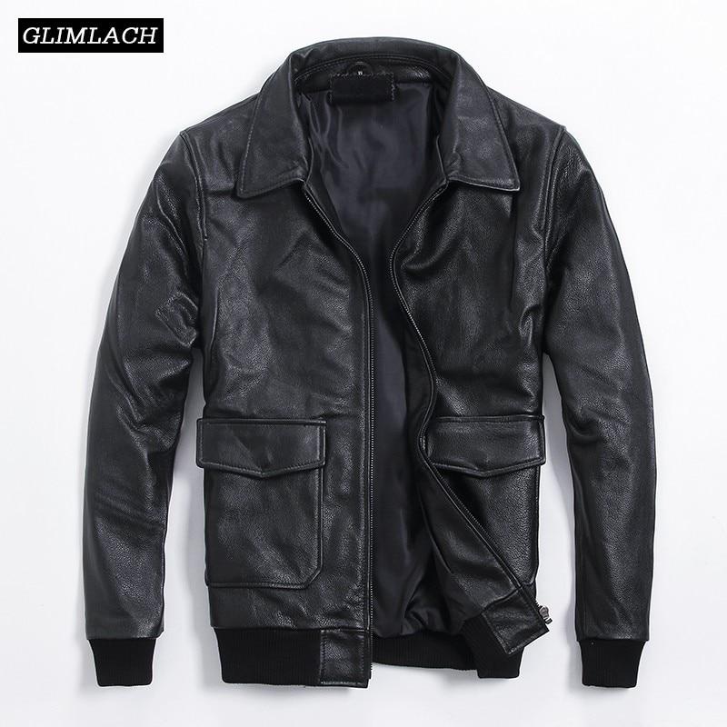 Classic Black Aviation Genuine Leather Jackets Men Cowskin Real Leather Jackets Large Size Pilot Bomber Jacket Veste Cuir Homme