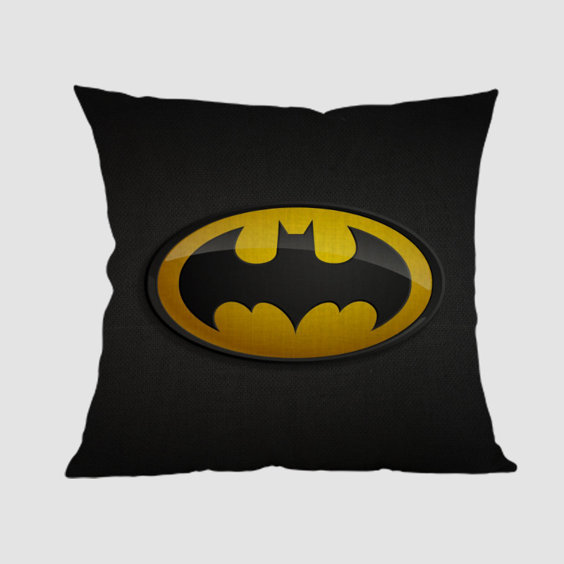 Batman Logo Symbol Badge Design The Dark Knight Print Decorative Throw Pillow Black Super Hero Theme Sofa Cushion Cover 45x45cm