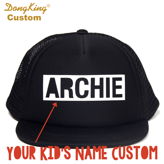 ab86dbc5880e3 DongKing Custom BLOCK LETTER Kids Adult Trucker Hat Custom Toddler Snapback  Personalized Baby Man Women Meth Cap Hats Gift