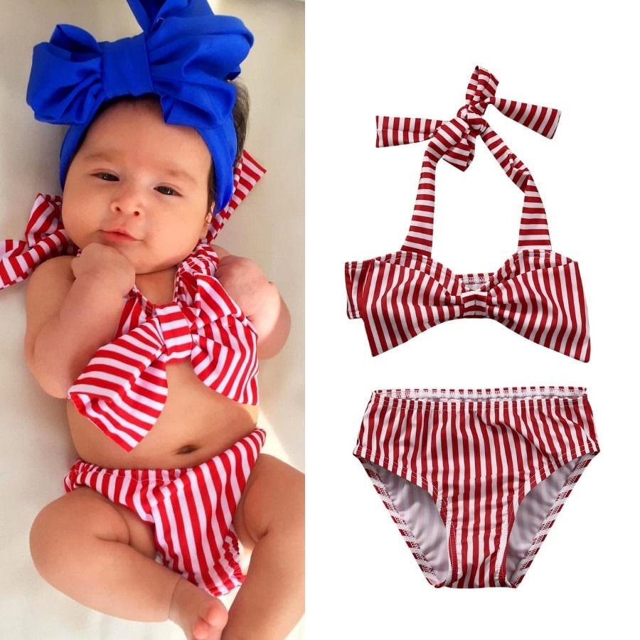 ea0b3793c1 2017 2-6Y Striped Toddler Kids toddler children cute pink Baby Girls Bikini  Set Swimwear