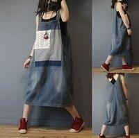 Summer Women Casual Loose Plus Size Mori Girls Lace Patchwork Denim Sleevesless Dresses