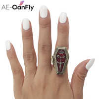 AE-CANFLY Vampire Halloween Rings for Women Coffin Opens CROWN BAT CROSS Gothic Metal Ring 2D3005