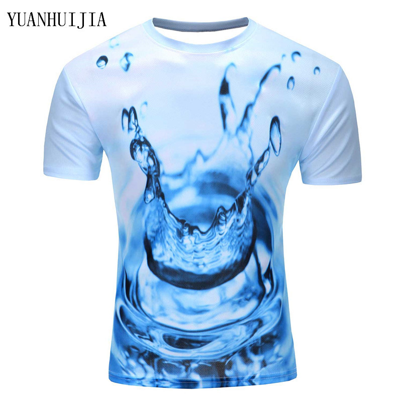 Men Fashion 3D Animal Creative T-Shirt, Lightning/smoke lion/lizard/water droplets 3d printed short sleeve T-Shirts
