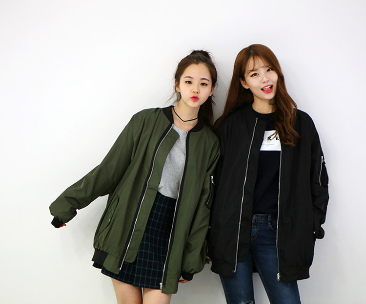 a49e426cf78 new girls bomber jacket coat baseball loose long jacket coat female ...