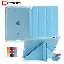 CTRINEWS Smart Leather Cover for iPad 2/3/4 Soft TPU Back Bottom Case Multi Shapes Transformer Folding for iPad 2 Tablet Case