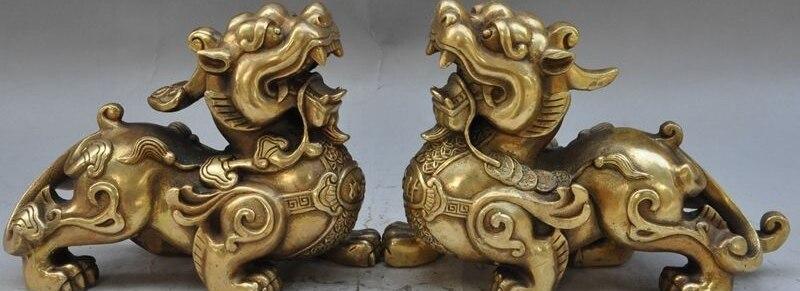 "9""chinese brass animal wealth rich lucky Brave troops Pixiu Unicorn beast statue"