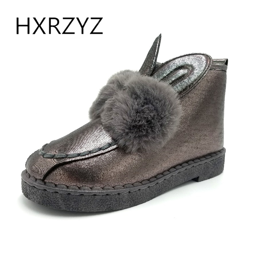 HXRZYZ winter snow boots women ankle leather boots autumn new female fashion cute pink rabbit ear add cotton warm women's shoes new 2017 fashion female warm ankle boots lace women boots snow boots and autumn winter women shoes